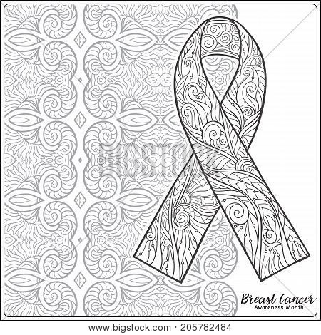 Breast cancer awareness month decorative pink ribbon on decorative mandala background. Anti stress coloring book for adult and. Outline drawing coloring page. Stock line vector illustration.