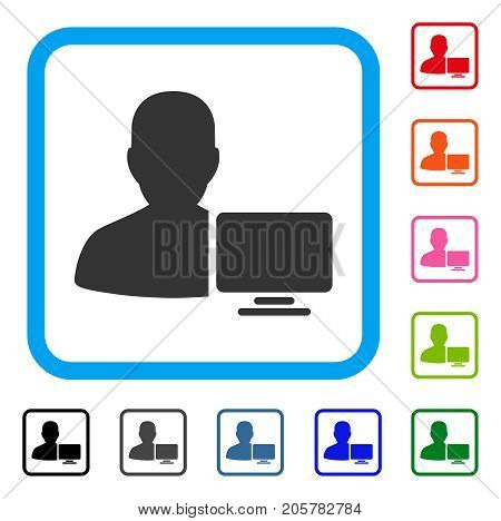 Computer Administrator icon. Flat iconic symbol inside a rounded rectangle. Black, gray, green, blue, red, orange color variants of Computer Administrator vector.