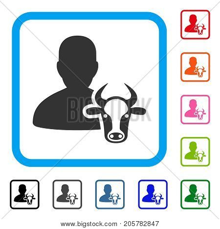 Cow Farmer icon. Flat iconic symbol in a rounded rectangle. Black, gray, green, blue, red, orange color additional versions of Cow Farmer vector. Designed for web and software user interface.