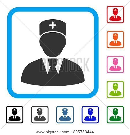Head Physician icon. Flat iconic symbol in a rounded rectangular frame. Black, gray, green, blue, red, orange color variants of Head Physician vector. Designed for web and software interfaces.