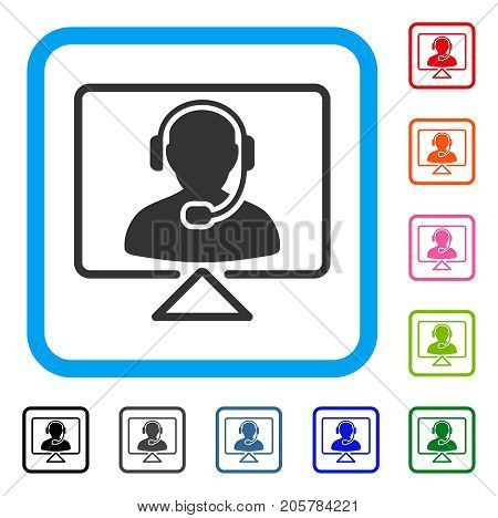 Online Support icon. Flat iconic symbol inside a rounded squared frame. Black, gray, green, blue, red, orange color versions of Online Support vector. Designed for web and app UI.