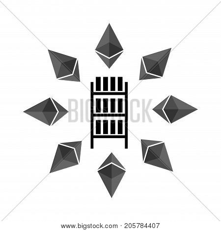 Mining Etherium Farm Icon. Extraction Of Cryptocurrency Sign. Racks Of Gpu Symbol. Vector Illustrati