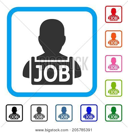 Unemployed icon. Flat pictogram symbol inside a rounded frame. Black, gray, green, blue, red, orange color variants of Unemployed vector. Designed for web and software UI.