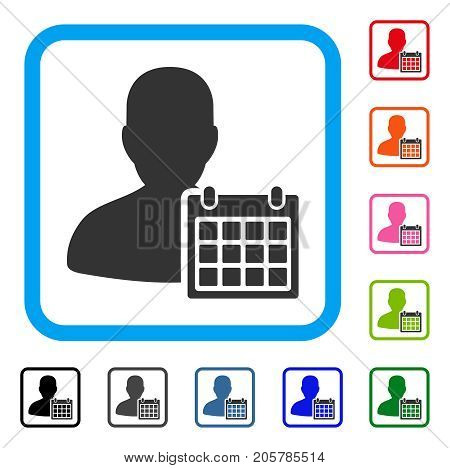 User Schedule icon. Flat iconic symbol inside a rounded rectangle. Black, gray, green, blue, red, orange color versions of User Schedule vector. Designed for web and app UI.