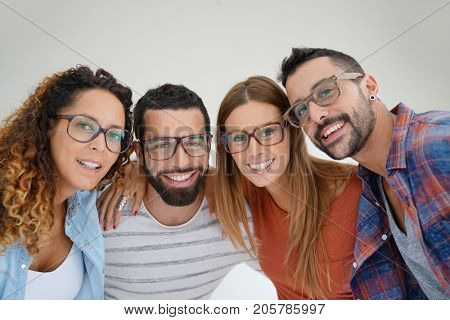 Portrait of young adults with eyeglasses, isolated