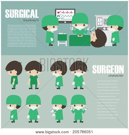 Surgical Infographics Element And Set Of Surgeon Cartoon Character . Vector