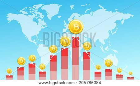 Vector illustration of Financial Technology concept image with bitcoin on the world map background. Digital currencies , cryptocurrency , digital money and bitcoin concept