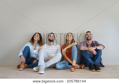 Friends looking up at message, isolated