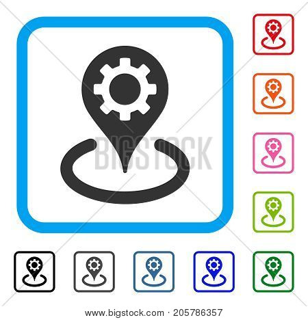 Fabric Location icon. Flat gray pictogram symbol inside a light blue rounded rectangle. Black, gray, green, blue, red, orange color versions of Fabric Location vector.