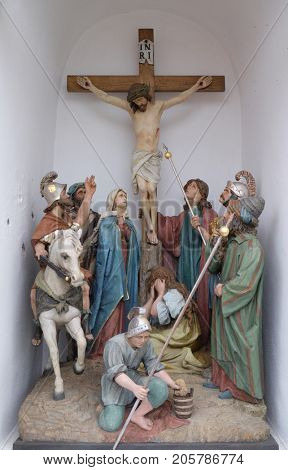 STITAR, CROATIA - NOVEMBER 11: Calvary, Jesus dies on the Cross, church of Saint Matthew in Stitar, Croatia on November 11, 2016.