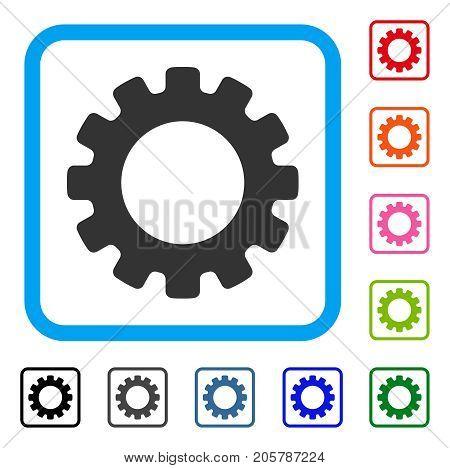 Gearwheel icon. Flat gray pictogram symbol inside a light blue rounded rectangular frame. Black, gray, green, blue, red, orange color variants of Gearwheel vector.
