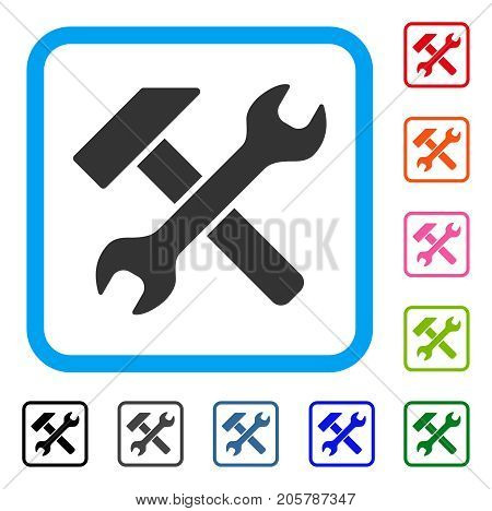 Hammer And Wrench icon. Flat grey iconic symbol inside a light blue rounded square. Black, gray, green, blue, red, orange color versions of Hammer And Wrench vector.