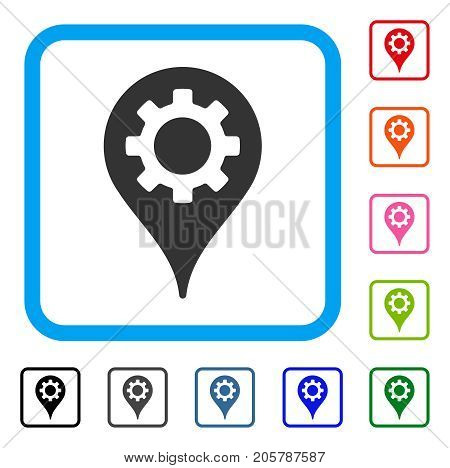 Industry Map Marker icon. Flat gray iconic symbol inside a light blue rounded square. Black, gray, green, blue, red, orange color versions of Industry Map Marker vector.