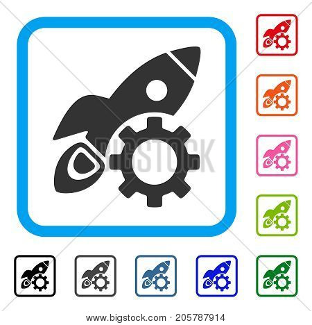 Rocket Science Options Gear icon. Flat grey iconic symbol in a light blue rounded square. Black, gray, green, blue, red, orange color versions of Rocket Science Options Gear vector.