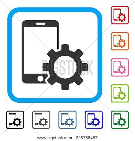Smartphone Configuration Gear icon. Flat gray pictogram symbol in a light blue rounded square. Black, gray, green, blue, red, orange color versions of Smartphone Configuration Gear vector.