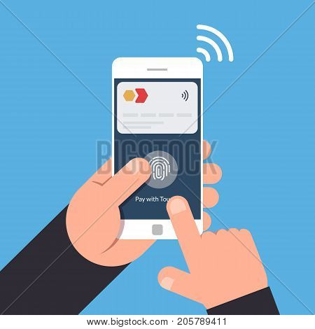 Non-contact payment method using a mobile phone. NFC. Vector illustration isolated.