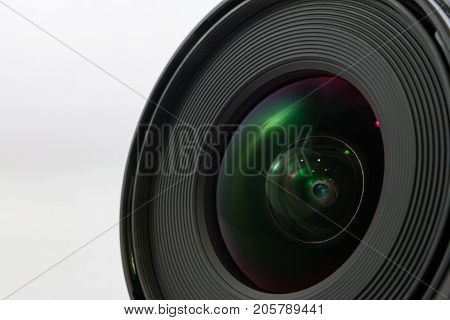 Black Camera Lens Front Isolated On White Background
