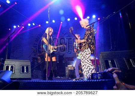 Oranthi and Robbie Krieger perform at the 10th Annual Scott Medlock-Robby Krieger All-Star Concert benefiting St. Jude Children's Research Hospital at Saddlerock Ranch in Malibu, CA on Aug. 27, 2017.