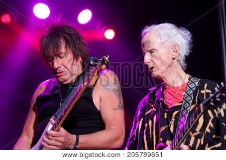 Richie Sambora and Robbie Krieger at the 10th Annual Scott Medlock-Robby Krieger All-Star Concert benefiting St. Jude Children's Research Hospital at Saddlerock Ranch in Malibu, CA on Aug. 27, 2017.