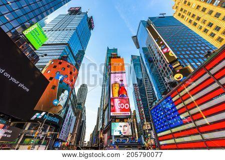 NEW YORK CITY, USA - NOVEMBER 2, 2016: Times square in Manhattan at twilight.