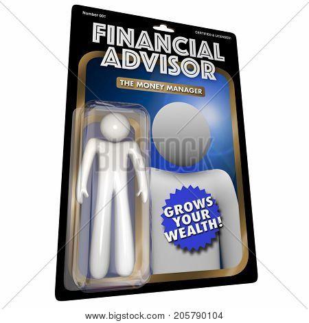 Financial Advisor Action Figure Money Manager 3d Illustration