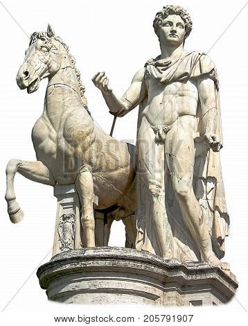Isolated statue of the Dioscure, young man with a horse. Capitoline Hill (Rome Italy). Famous ancient roman monument on the white background