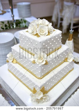 White Wedding Cake On A Table