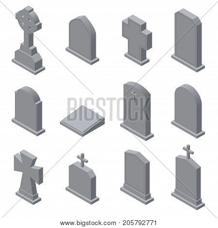 Set of gravestones isolated on white. Isometric vector illustration poster