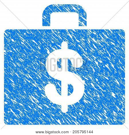 Grunge Accounting Case icon with grunge design and dirty texture. Unclean vector blue accounting case pictogram for rubber seal stamp imitations and watermarks. Draft sign symbol.