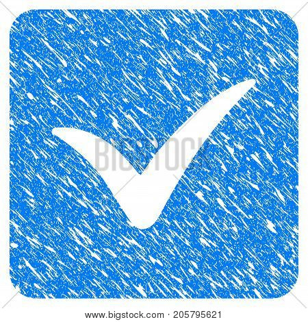 Grunge Approve Box icon with grunge design and dust texture. Unclean vector blue approve box pictogram for rubber seal stamp imitations and watermarks. Draft sticker symbol.