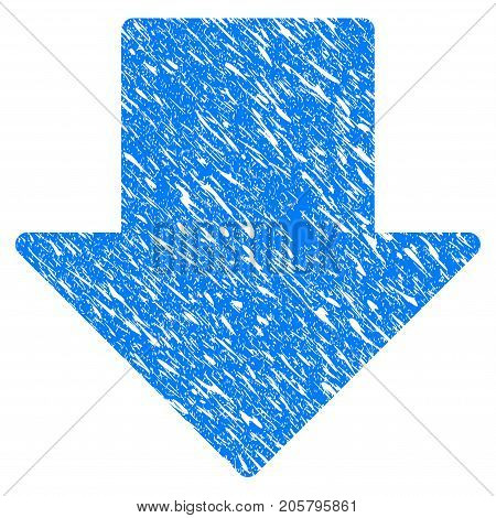 Grunge Arrow Down icon with grunge design and scratched texture. Unclean vector blue arrow down pictogram for rubber seal stamp imitations and watermarks. Draft sign symbol.