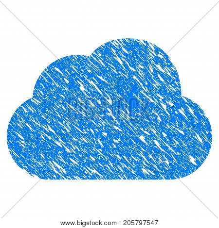 Grunge Cloud icon with grunge design and dirty texture. Unclean vector blue cloud pictogram for rubber seal stamp imitations and watermarks. Draft sticker symbol.