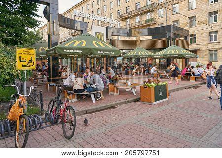 SAINT PETERSBURG, RUSSIA - CIRCA AUGUST, 2017: McDonald's restaurant in Saint Peterburg. McDonald's is an American hamburger and fast food restaurant chain.