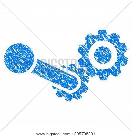 Grunge Engine icon with grunge design and dust texture. Unclean vector blue engine pictogram for rubber seal stamp imitations and watermarks. Draft emblem symbol.