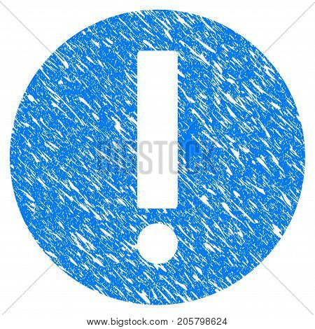 Grunge Exclamation icon with grunge design and unclean texture. Unclean vector blue exclamation pictogram for rubber seal stamp imitations and watermarks. Draft sign symbol.
