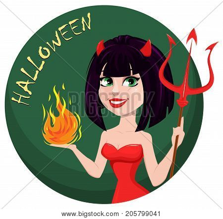 Devil girl for Halloween. Sexy she-devil with trident in one hand and flame in another. Horned cartoon character for holiday greeting card or invitation. Vector illustration green background.
