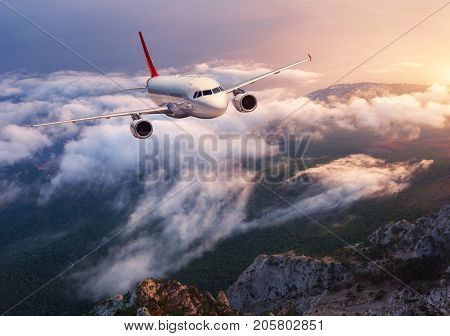 Beautiful Airplane Is Flying Over Low Clouds At Sunset