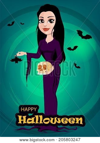 Halloween. Beautiful lady witch in gothic style wearing black long dress. Cartoon character on beautiful green background with bats. Vector stock