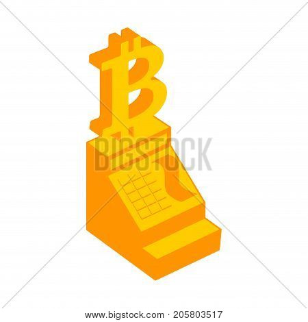 Cash Register Bitcoin. Calculation Incryptocurrency. Vector Illustration