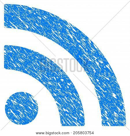 Grunge Rss icon with grunge design and dirty texture. Unclean vector blue rss pictogram for rubber seal stamp imitations and watermarks. Draft emblem symbol.