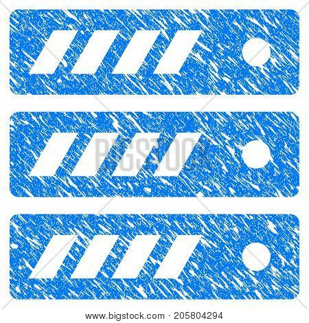 Grunge Server icon with grunge design and dirty texture. Unclean vector blue server pictogram for rubber seal stamp imitations and watermarks. Draft emblem symbol.