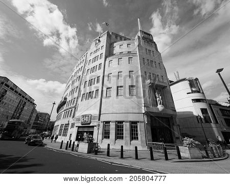 Bbc Broadcasting House In London Black And White