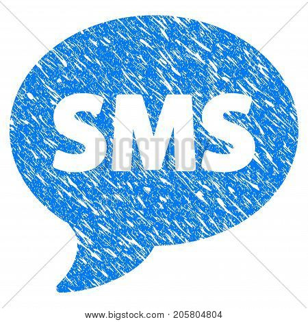 Grunge SMS icon with grunge design and dust texture. Unclean vector blue sms pictogram for rubber seal stamp imitations and watermarks. Draft sticker symbol.