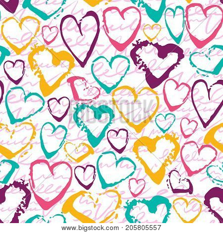 Vector colorful seamless pattern with brush strokes hearts. Summer fantasy . Rainbow color on white background. Hand painted grange texture. Ink love elements. Fashion modern style. Unusual chaotic