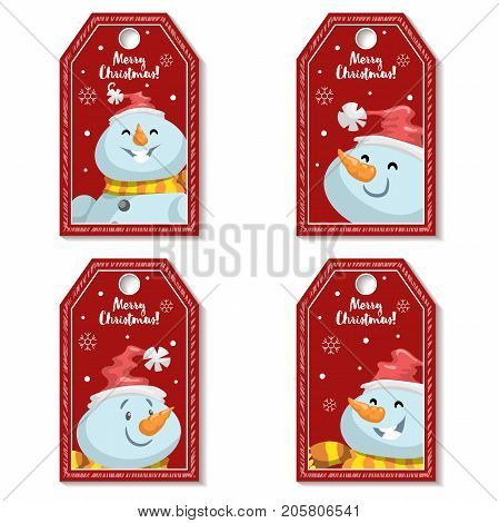 Set of cartoon red Christmas tag or label with laughing and smiling snowmen in Santa's hat. Xmas gift tag invitation banner sale or discount poster collection.