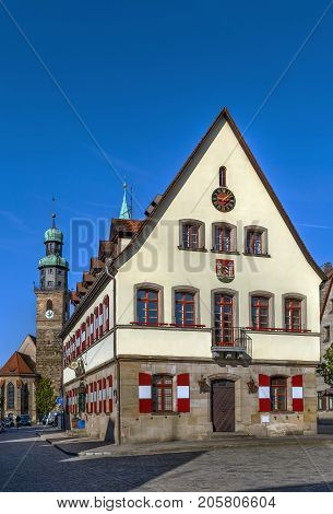 Old town hall on the market square in Lauf an der Pegnitz Bavaria Germany