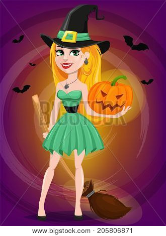Halloween greeting card. Beautiful lady witch wearing pilgrim hat and holding broom and pumpkin. Cartoon character on beautiful background with bats. Vector stock