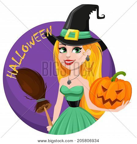 Halloween greeting card. Beautiful lady witch wearing pilgrim hat and holding broom and pumpkin. Cartoon character. Vector stock