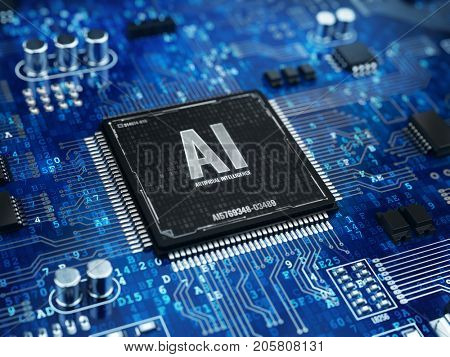 AI, Artificial Intelligence concept - Computer chip microprocessor with AI sign and binary code. 3d rendering