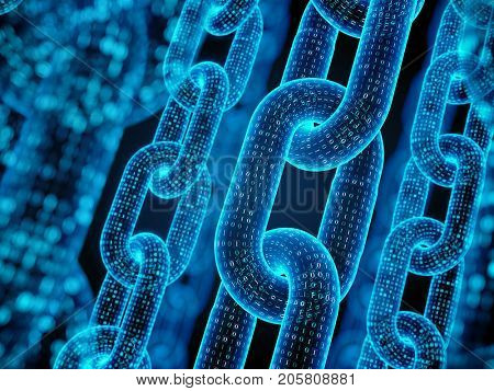 Block chain concept - digital code chain. 3d rendering